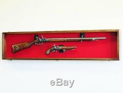 Long Rifle / Musket Gun Display Case Wall Rack Cabinet with UV Protection -Lock