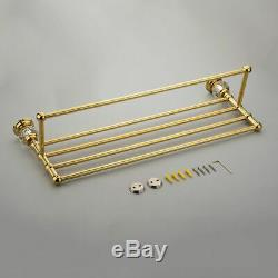 Luxurious Wall Mount Gold/Chrome Towel Rack & Towel Bar Bathroom Shower Shelves