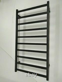 MATT BLACK Electric Heated 304 s/steel Towel Rack 10 Bars hard wired AU standard