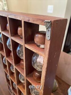 MCM Styson Woodcrest Spice Rack 16 Hour Glass Bottles Acorn Tops Apothecary 60s