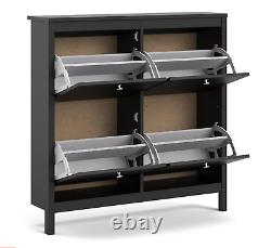 Madrid Shoe Cabinet Cupboard Rack with 4 Storage Compartments In Matt Black