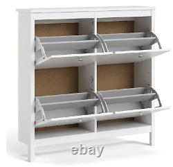 Madrid Shoe Cabinet Cupboard Rack with 4 Storage Compartments In White