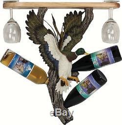 Mallard Duck Wine Bottle Glass Shelf Holder Rack Cabin Weekend Home Decor Gift