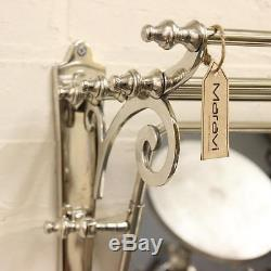Maravi Train Rack with Mirror Coat Hanger Wall Mounted 7 Hooks Shelf Handmade