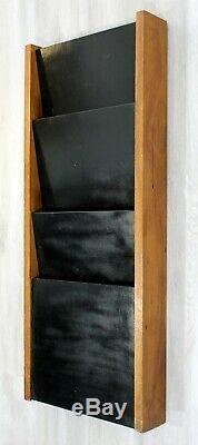 Mid Century Modern Walnut Wall Mounted Magazine Rack Holder Peter Pepper 1970s