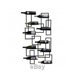 Mid Century Wall Mount 10 Wine Bottles Glass Holder Rack Storage Kitchen Decor