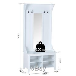 Mirrored Hallway Furniture Set Entryway Wooden Shoe Cabinet Coat Rack Storage