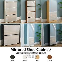 Mirrored Shoe Cabinet Door Drawer Storage Cupboard Footwear Stand Rack Organiser