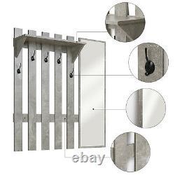 Modern Coat Rack 5 Hooks Grey Stand Shoe Bench Storage Organiser with Mirror