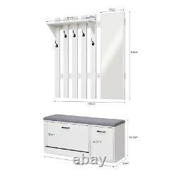 Modern Coat Rack 5 Hooks White Stand Shoe Bench Storage Organiser with Mirror