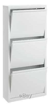 Modern Tall Slim 3 Tier Shoes Storage Cabinet Cupboard Rack Wood Hallway White