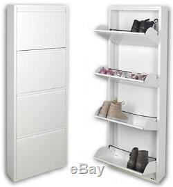 Modern Tall Slim 4 Tier Shoes Storage Cabinet Rack Hallway White x 2 Bargain
