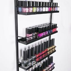 NEW 5 Tier Black Nail Polish Display Rack Wall Mounted Organizer Stand Shelf UK