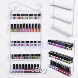 NEW 5 Tiers Nail Polish Rack Wall Mounted Display Shelf White 50 Large Bottle