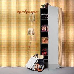 NOVA Mirrored Shoe Cabinet Storage Rack Slim Full Length Black Wall Mounted