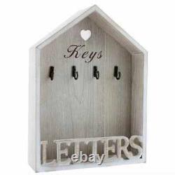Natural Shabby Chic Letter Rack 4 Key Holder Hooks Vintage Wall Mounted Storage