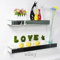 New 35/45/60cm Wall Mount Clear Bevelled Edge Silver Mirror Floating Shelf Rack
