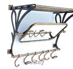 New Retro Style Train Brass Wall Mounted Hanging Luggage Rack Mirror Shelf Hooks