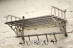 New Superb Large Wall Mounted Hanging Railway Luggage Rack Coat Shelf Hooks
