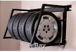 New Tires Rim Rack Wall Mount Adjustable Garage Storage System Shelves In Black