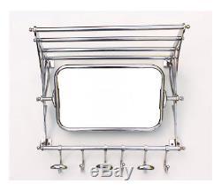 New Vintage Retro Style Train Hall Luggage Wall Mounted Rack Mirror Shelf Hooks