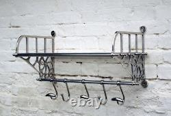 New Vintage Retro Style Train Hall Luggage Wall Mounted Rack With Shelf 6 Hooks
