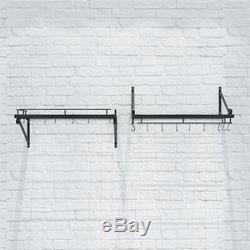 New Wall Mount Kitchen Hanging Pot Pan Shelf Rack Organizer Utensil W Free Hooks