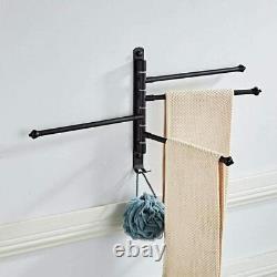 New Wall Mounted 4 Arm Towel Rail Storage Holder Bathroom Kitchen Swivel Rack UK