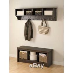 New Wall-Mounted Coat Rack in Espresso Prepac 60 in. Wide Hanging Entryway Shelf