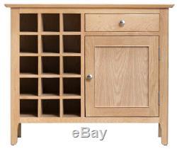 Normandy Oak Large Wine Cabinet / Oak Sideboard With Wine Rack / Oak Wine Rack