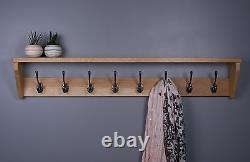 Oak Coat Rack With Shelf Wooden Coat Rack Cast Iron Hooks
