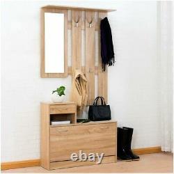 Oak Shoe Storage Coat Hanger Rack Drawer Storage With Mirror Home Furniture Unit