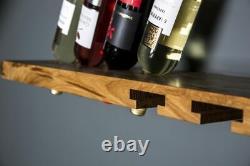 Oak Wine Rack Shelf Wine Storage Shelf Oak Plank Bottle Holder