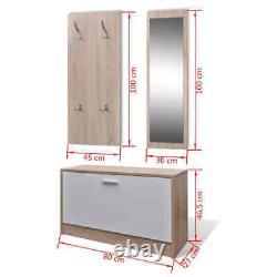 Oak and White 3-in-1 Wooden Shoe Rack Cabinet Set Organiser Storage Cupboard UK