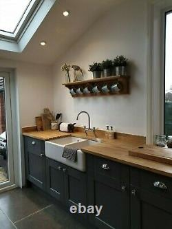 Oak/wooden cup mug shelf/rack with hooks made to measure bespoke cup mantle