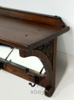 Old Charm Coat Rack With Mirror And Shelf Tudor Brown FREE Nationwide Delivery