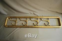 Original Brass Wall Mounted Coat Rack Original Patina, With 4 Swivel Coat Hooks