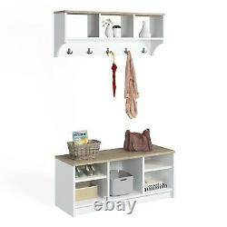 P&W Wooden Coat Rack With Shoe Storage & Wall Mounted Coat Stands For Hallway