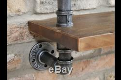 Pipe Wall Mountable Shelves Wooden Tops Distressed Display Racking Storage Unit