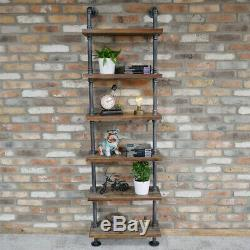 Pipe Wall Mounted 6 Tier Shelving Display Book Racking Distressed Storage Unit