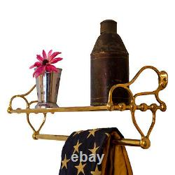 Polished Brass Rack for Bathroom with Towel Rail and Shelf Antique Replica