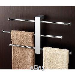 Polished Chrome Wall Mounted Towel Rack With 3 Sliding Rails