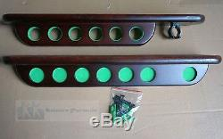 Pool Snooker Deluxe Cue Holder for 6 Cues and'X' Rest, Wall Mounted Cherry