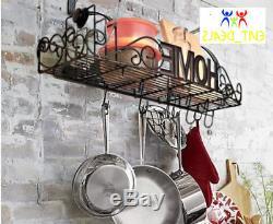 Pot Pan Hanging Rack Wall Mount Iron Kitchen Bookshelf Holder Shelf Organizer