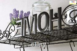 Pot Pan Hanging Rack Wall Mount Iron Kitchen Bookshelf Holder Shelf Organizer