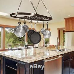 Pot Pan Rack Ceiling Wall Mounted Oval Shelf Hanging Kitchen + 10 Hooks Cookware