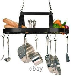 Pot Pan Rack Storage Holder 2-Light Oil-Rubbed Bronze Kitchen with Hooks Fixture
