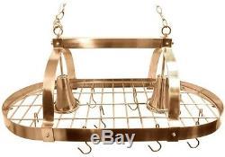 Pot Rack Light 2-Light Adjustable Hanging Length in Copper Finish with Hooks
