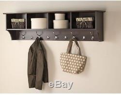 Prepac 60 in. Wall-Mounted Coat Rack Espresso Entryway storage Shelf Hat shelves