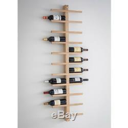Raw Oak Wall Mounted Wine Rack Holds 22 Wine Bottles